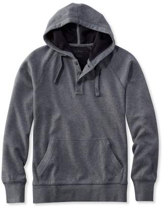 L.L. Bean L.L.Bean Washed Cotton Double-Knit Henley Hoodie, Slightly Fitted Long-Sleeve