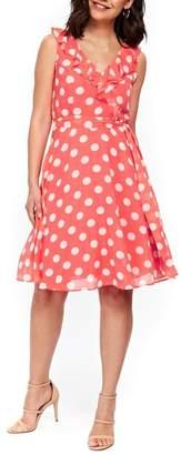 Wallis Ruffle Spot Fit & Flare Dress