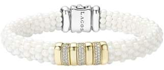 Lagos 'White Caviar' Triple Pave Diamond Rope Bracelet