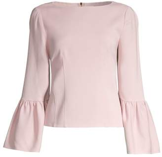 Tibi Stretch Crepe Bell Sleeve Blouse