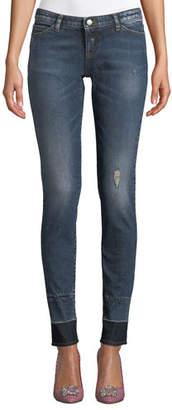 Emporio Armani Distressed Skinny Jeans w/ Contrast Hem