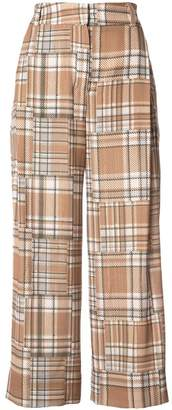 Patbo plaid wide-legged cropped trousers