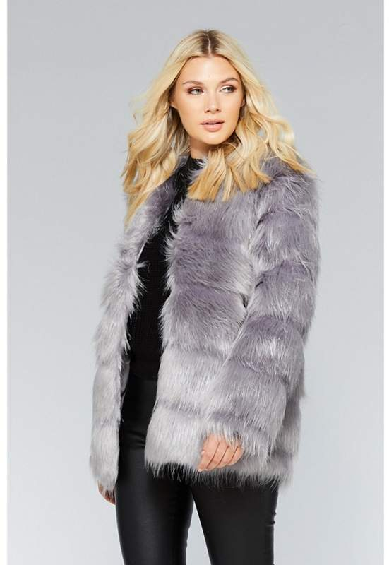 Grey Faux Fur Long Sleeve Jacket
