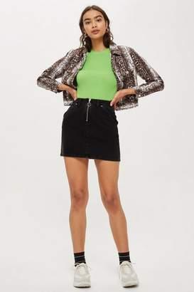 Topshop Womens Petite Zip Denim Skirt