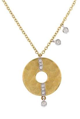 Meira T 18K Diamond Hammered Circle Necklace