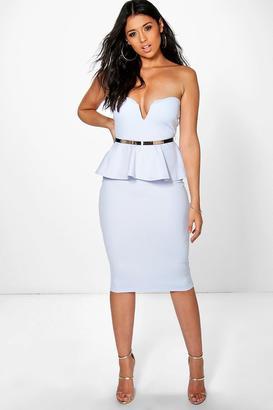 boohoo Theresa Bandeau Belted Peplum Midi Dress $37 thestylecure.com