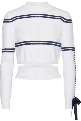 Fendi - Cutout Faille-trimmed Striped Pointelle-knit Sweater - White $850 thestylecure.com