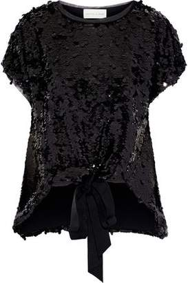 Sachin + Babi Pesant Tie-Front Sequined Tulle Top