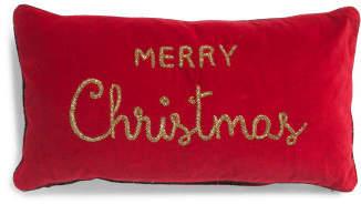 14x26 Velvet Merry Christmas Pillow
