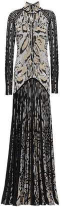 Roberto Cavalli Cutout Pleated Metallic Leopard-jacquard Gown