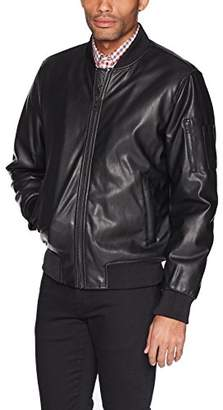 GUESS Men's Faux Leather Bomber Jacket