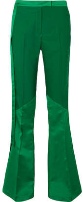 Ronald van der Kemp - Paneled Satin And Stretch-crepe Flared Pants - Green