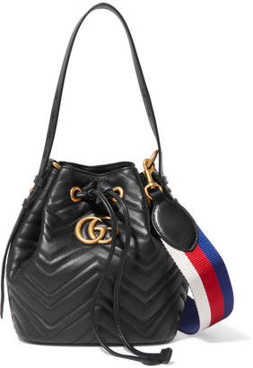 Gucci Gg Marmont Quilted Leather Bucket Bag - Black