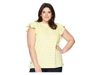 Lauren Ralph Lauren Plus Size Striped Cotton Flutter Sleeve T-Shirt Women's T Shirt