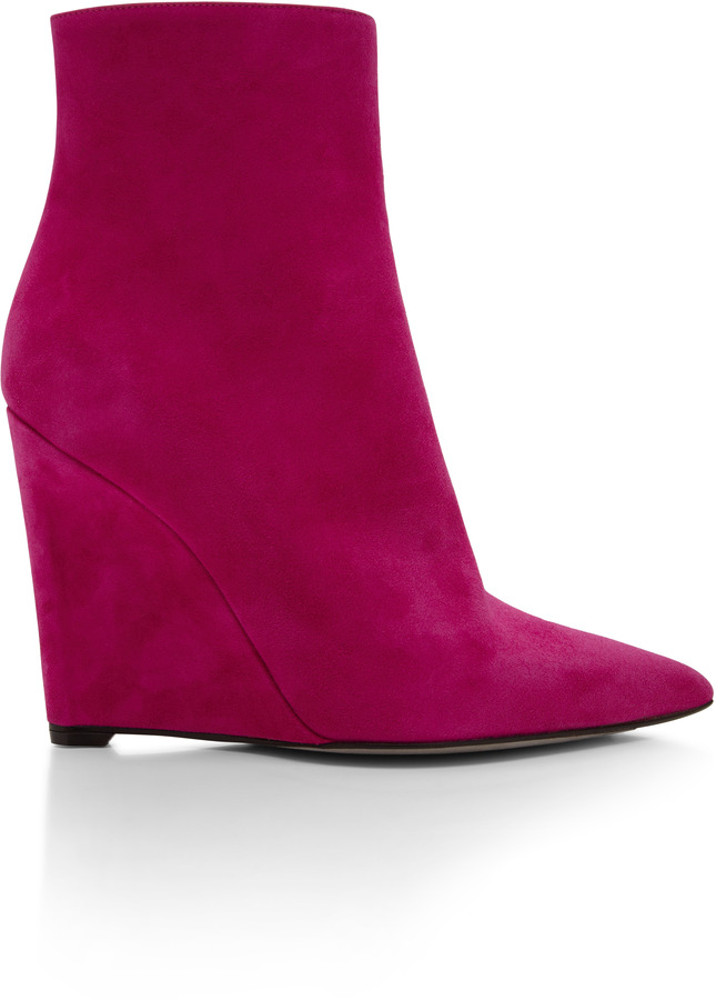 Sergio Rossi Ava Suede Wedge Ankle Boots