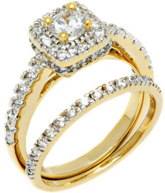 PORI JEWELERS PORI Jewelers Round CZ 18kt Gold over Sterling Silver Square Boxed Engagement Ring and Band Set, Available in 4 Sizes