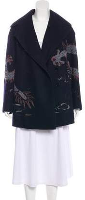Valentino Virgin Wool Embroidered Coat