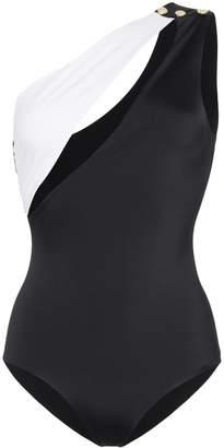 Balmain one-shoulder colourblock swimsuit