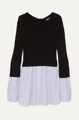 Kenzo Layered Ribbed Cotton-blend Knit And Cotton-poplin Sweater - Black