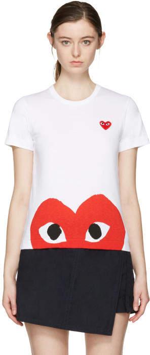 Comme des Garçons Play White Half Heart T-Shirt