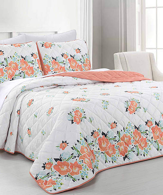 Bursting Bouquet Reversible Quilted Coverlet Set