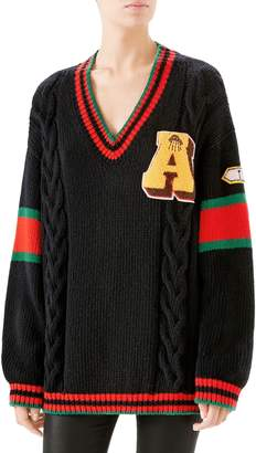 Gucci Cable Knit Wool Varsity Sweater