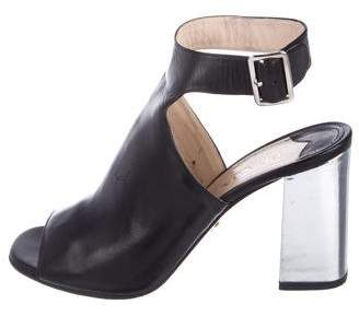 Prada Leather Peep-Toe Booties