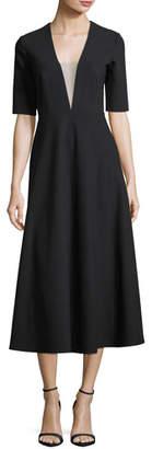Jill Stuart Deep V-Neck Illusion Dress