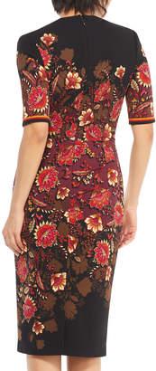 Maggy London Floral Print 1/2-Sleeve Sheath Dress