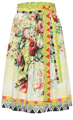 Prada Printed cotton midi skirt