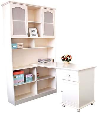 OliandOla Jasmine Corner Computer Desk with Bookshelf