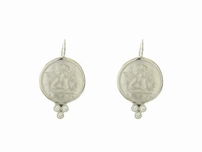 Temple St.Clair Angel Earrings in White Gold with Diamond Granulation - 14mm