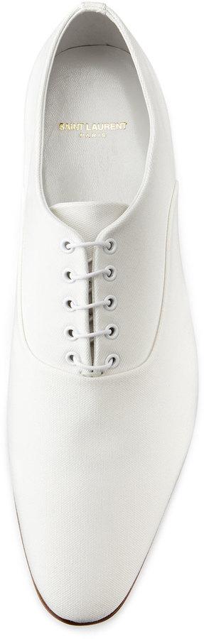 Saint Laurent Lulu Canvas Oxford Shoe, White