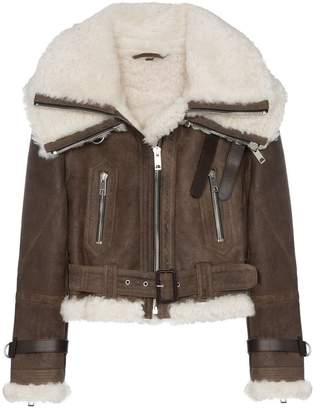 Burberry Cropped and belted aviator jacket