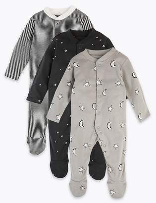 Marks and Spencer 3 Pack Pure Cotton Monochrome Sleepsuits