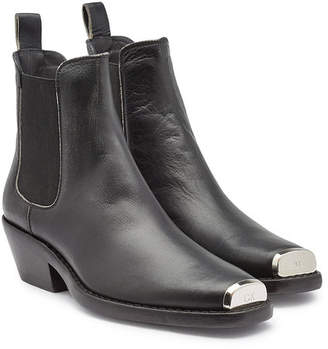 Calvin Klein Western Claire Leather Ankle Boots