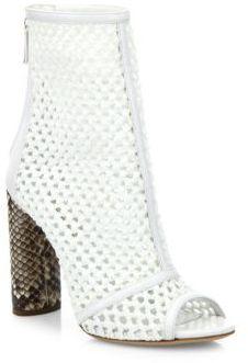 Casadei Crochet & Python Peep Toe Booties $850 thestylecure.com