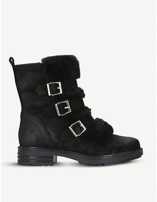 Kurt Geiger London Sink suede and faux-fur boots