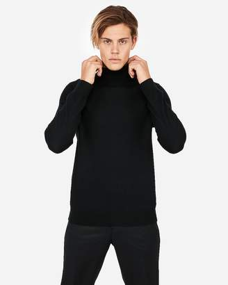 Express Merino Wool-Blend Thermal-Regulating Solid Turtleneck Sweater