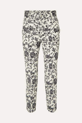 Isabel Marant Lorrick Cropped Floral-print High-rise Skinny Jeans - Black