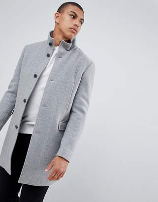 Selected recycled wool overcoat with funnel neck