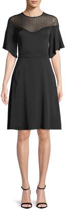 Milly Jan Semisheer-Yoke Dress