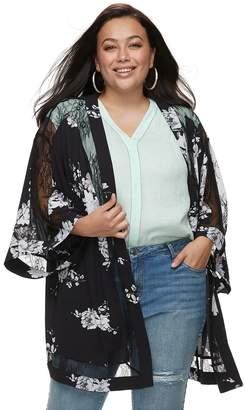 JLO by Jennifer Lopez Plus Size Lace Floral Kimono