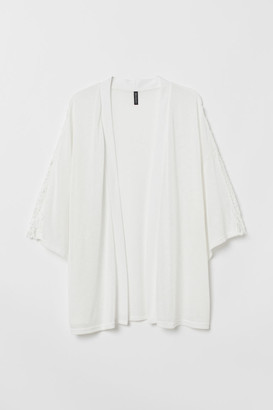 H&M H&M+ Crochet-trimmed Cardigan - White