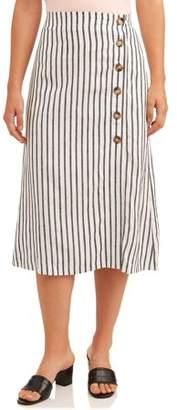 ECI Women's Linen Button Stripe Skirt
