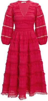 Ulla Johnson Charline Red Lace Midi Dress