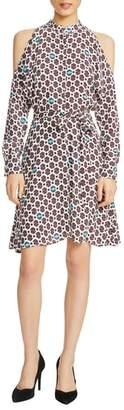 Maje Ralinka Cold Shoulder Print Dress