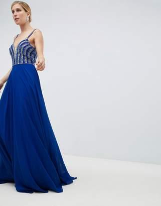 Jovani Deep Plunge Embellished Maxi Dress