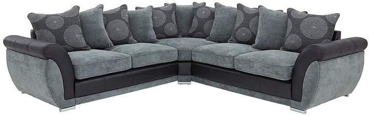 Danube Fabric And Faux Snakeskin Corner Group Sofa