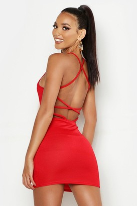 boohoo Cross Strappy Back Bodycon Dress